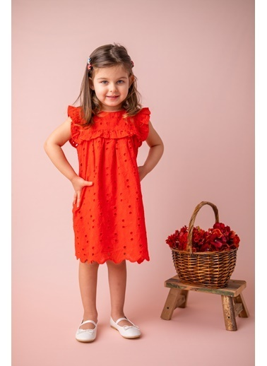 Mininio Kırmızı Dantelli Fırfırlı Elbise (9ay-4yaş) Kırmızı Dantelli Fırfırlı Elbise (9ay-4yaş) Kırmızı